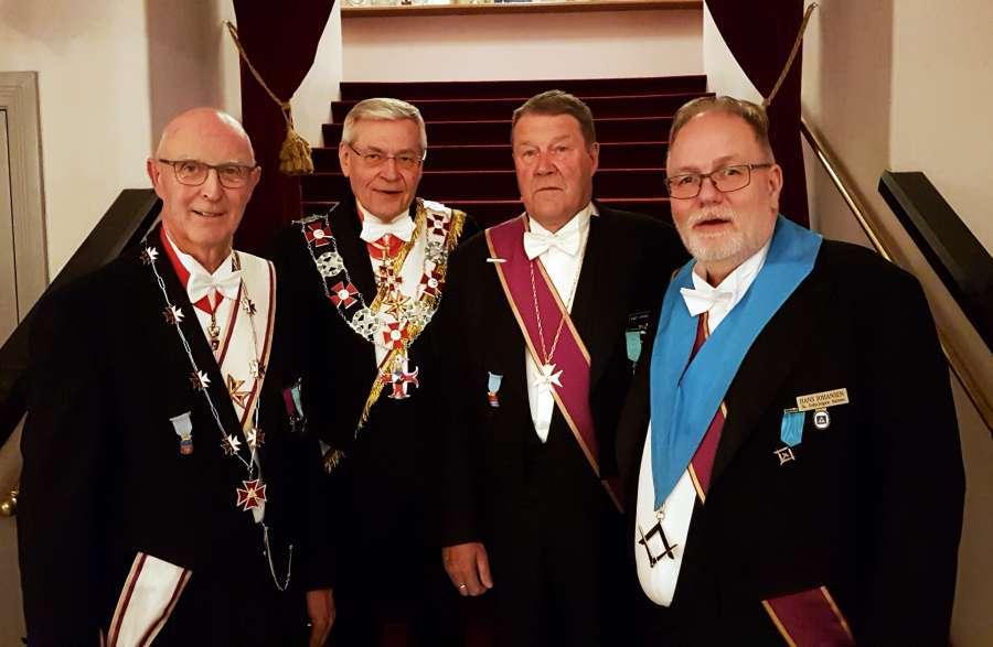Fra v.: Prov.M Per Trygve Kongsnes, OSM Ragnar Tollefsen, Knut Jarnæs og OM i Salten, Hans Johansen.