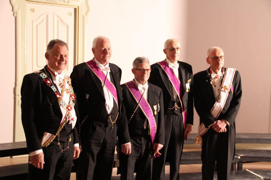 Fra venstre: OSM Tore Evensen, Steinar Ravlo, Jan Olaf Lunde, Willy Aune og Provincialmester Svein Klokkerhaug