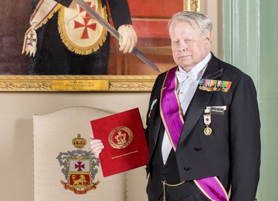 Olaf Buverud i forbindelse med tildelingen av Stormesterens Fortjenstmedalje i 2017.