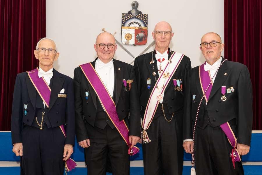 Fra v.: Andreas Jensen, fadder, Ole Martin Erikstad, Per Trygve Kongsnes Prov.M., Kjell Krey Dagsloth.